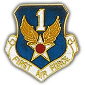 "Pins: USAF - Air Force, 001ST, SHIELD (1"")"
