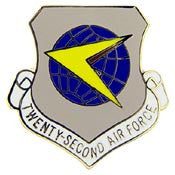 "Pins: USAF - Air Force,022ND,SHIELD (1"")"