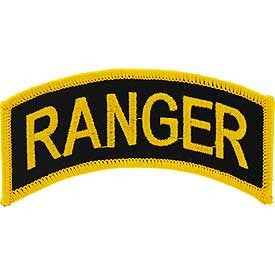 "PATCHES: ARMY TAB RANGER (GLD/BLK) (4"")"
