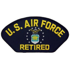 "PATCHES: USAF HAT LOGO, RETIRED. (3""X5-1/4"")"