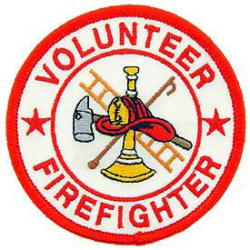 "PATCHES: FIREFIGHTER VFD RND (WHT/RED) (3"")"