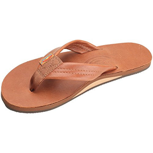 Rainbow Mens Sandals 2 Tone Leather Single Layer Wide Strap Tan
