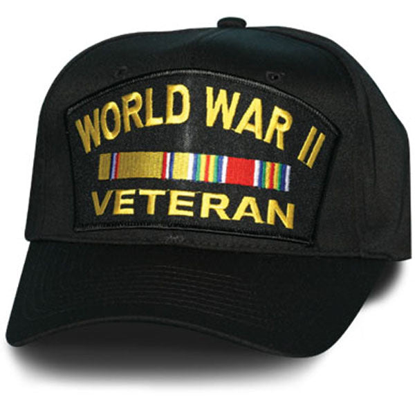 MP Hats: World War II Veteran with Ribbon Patch Black Ball Cap
