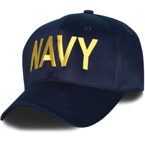 MP Hats: Navy Letters Only Direct Embroidered Blue Ball Cap