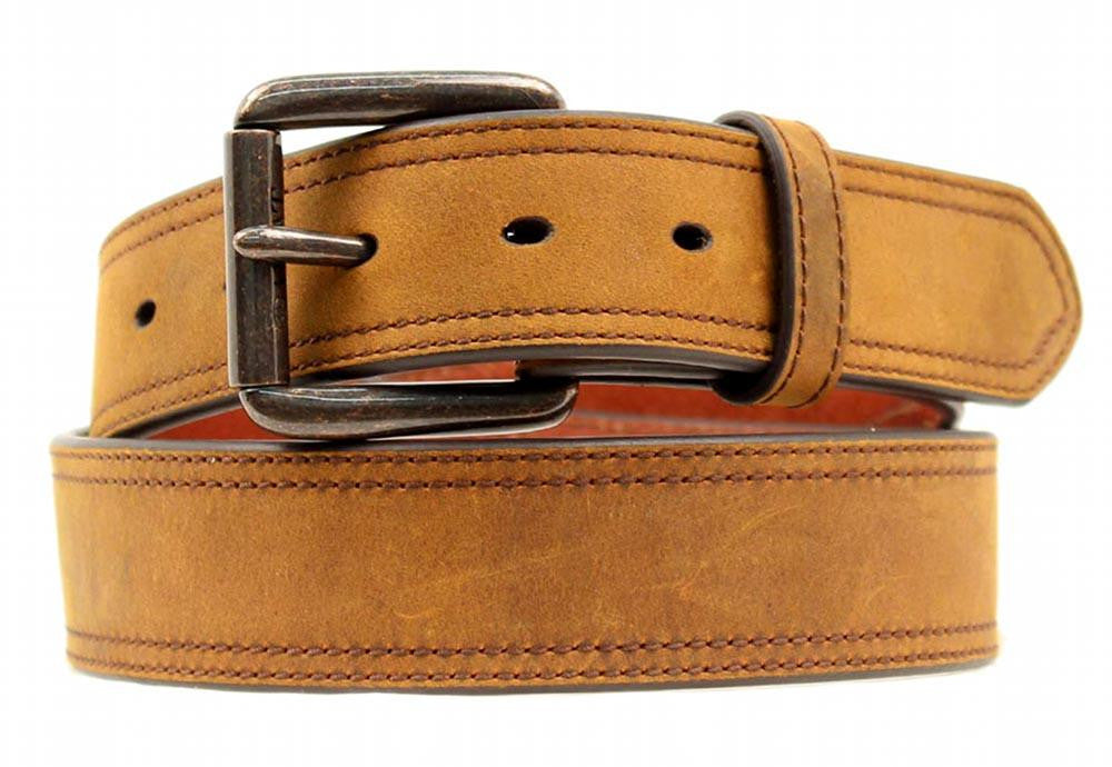 "Ariat Western Belts: 1 1/2"" Distressed Double Stitch Logo Brown"