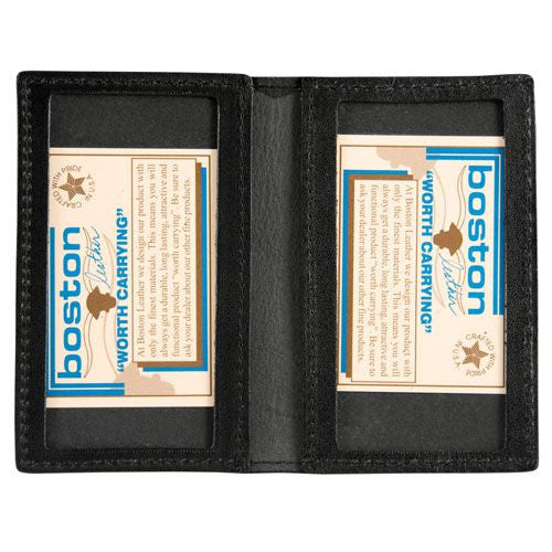 Boston Leather Double Window Identification Case with Outside Badge Flap