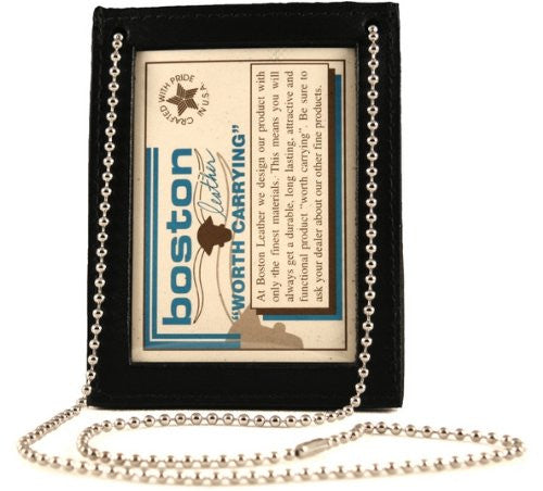 "Boston Leather 3"" x 4"" Neck Chain Double ID Holder, Black"