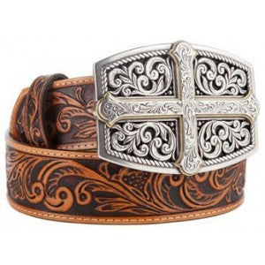 "Justin Men Belts: Tooled Leather ""Bold Faith"" Cross Buckle Western Justin Men Belts"