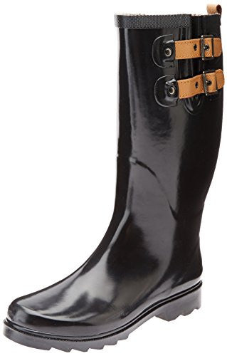 Chooka Women's Top Solid Rain Boot - Black Shiny