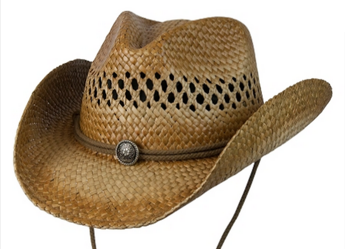 Conner Hats: Sea Grass Western Style Hat With Metal Concho Band