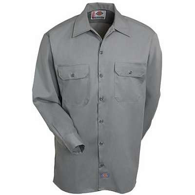 Dickies Shirts: Men's Twill Long Sleeve Work Shirt - Grey