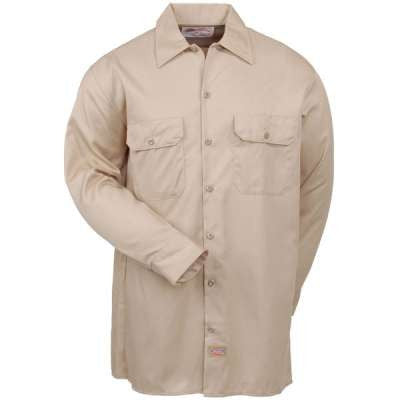 Dickies Shirts: Men's Twill Long Sleeve Work Shirt - Khaki