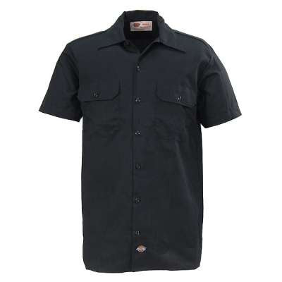 Dickies Shirts: Men's Short Sleeve Work Shirt - Black