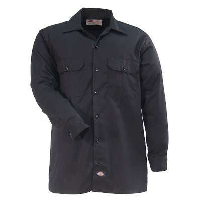 Dickies Shirts: Men's Twill Long Sleeve Work Shirt - Black