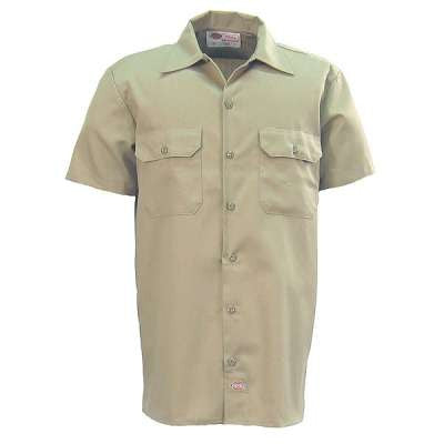 Dickies Shirts: Men's Short Sleeve Work Shirt - Khaki