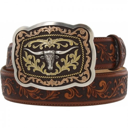 Justin Western Belts: Leegin  San Antonio with Leaf Tooling USA Made