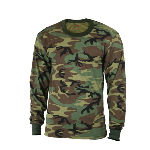 Rothco Shirts: Kids Camo Long Sleeve T-Shirt - Woodland