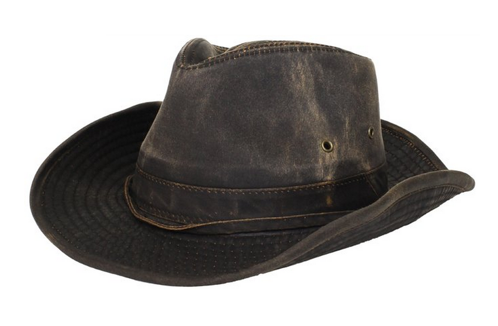 Dorfman-Pacific Weathered Cotton Outback Hat With Chin Cord
