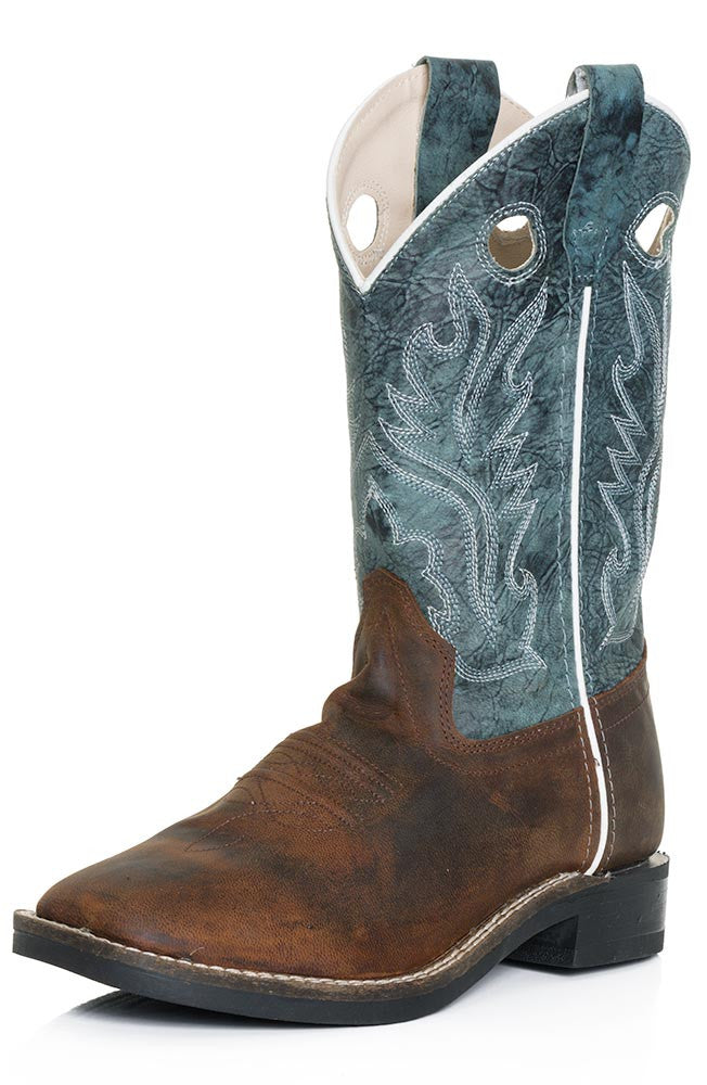 8640cdbf662ae Old West Kids Brown Oiled w/ Distressed Blue Leather Top Square Toe Western  Boots