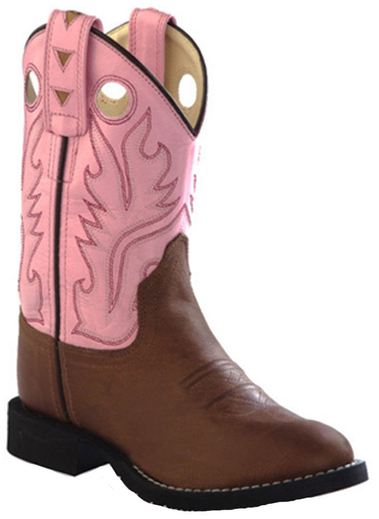 Old West Kids Comfort Wear Western Boots - Tan/Pink