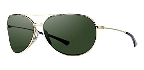 Smith Optics Rockford Slim Sunglasses Gold Frame, Polar Gray Green Carbonic Tlt Lenses
