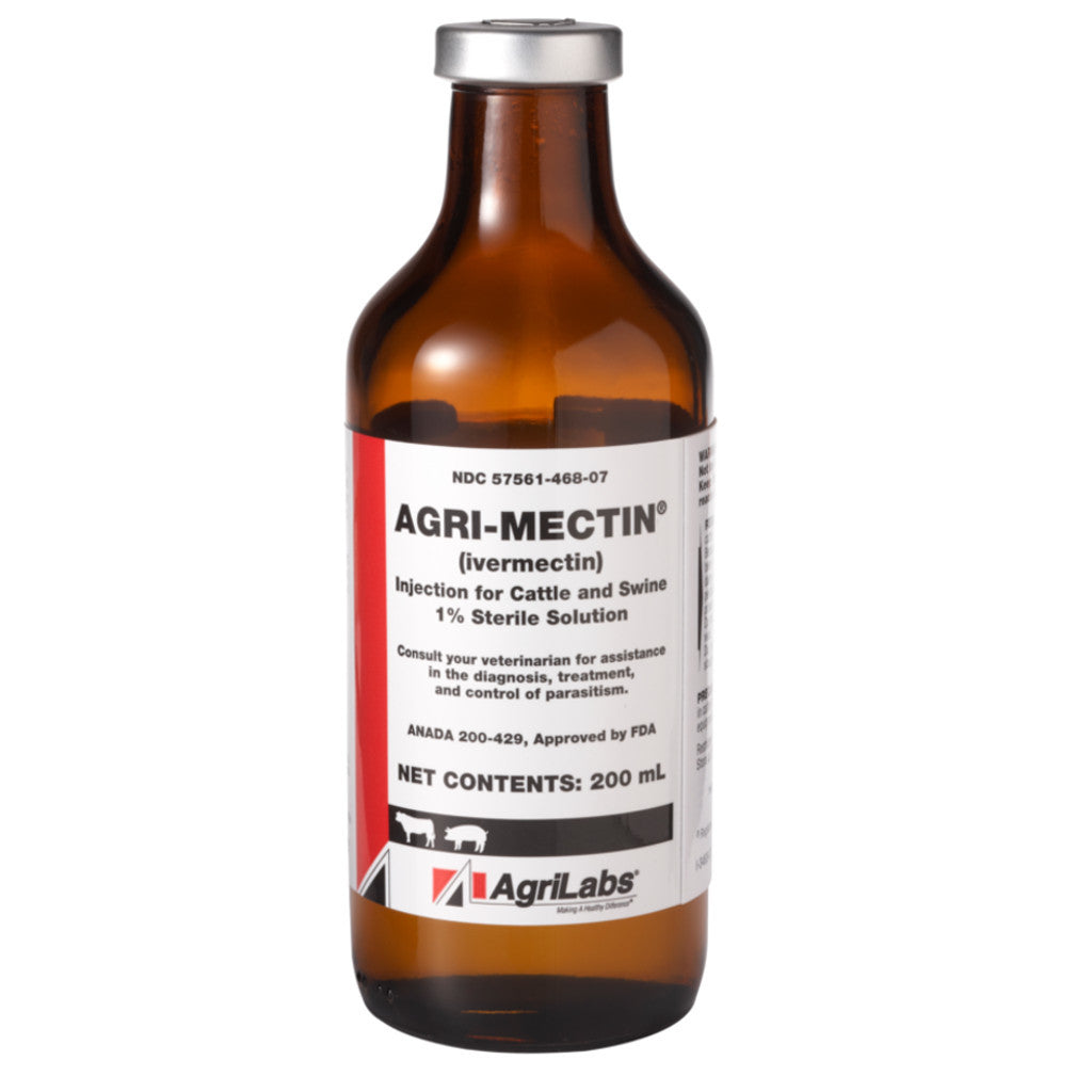 AgriMectin 1% Injectable Ivermectin 200ml Cattle Swine