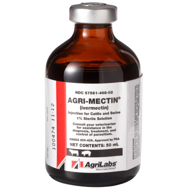 AgriMectin 1% Injectable Ivermectin 50ml Cattle Swine