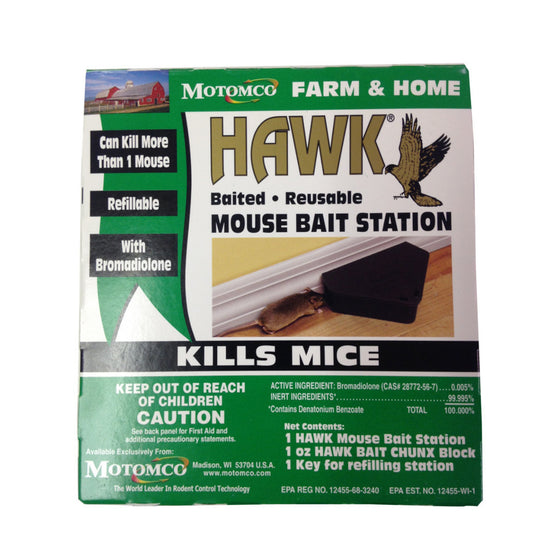 Motomco Hawk Mouse Bait Station Baited Reusable