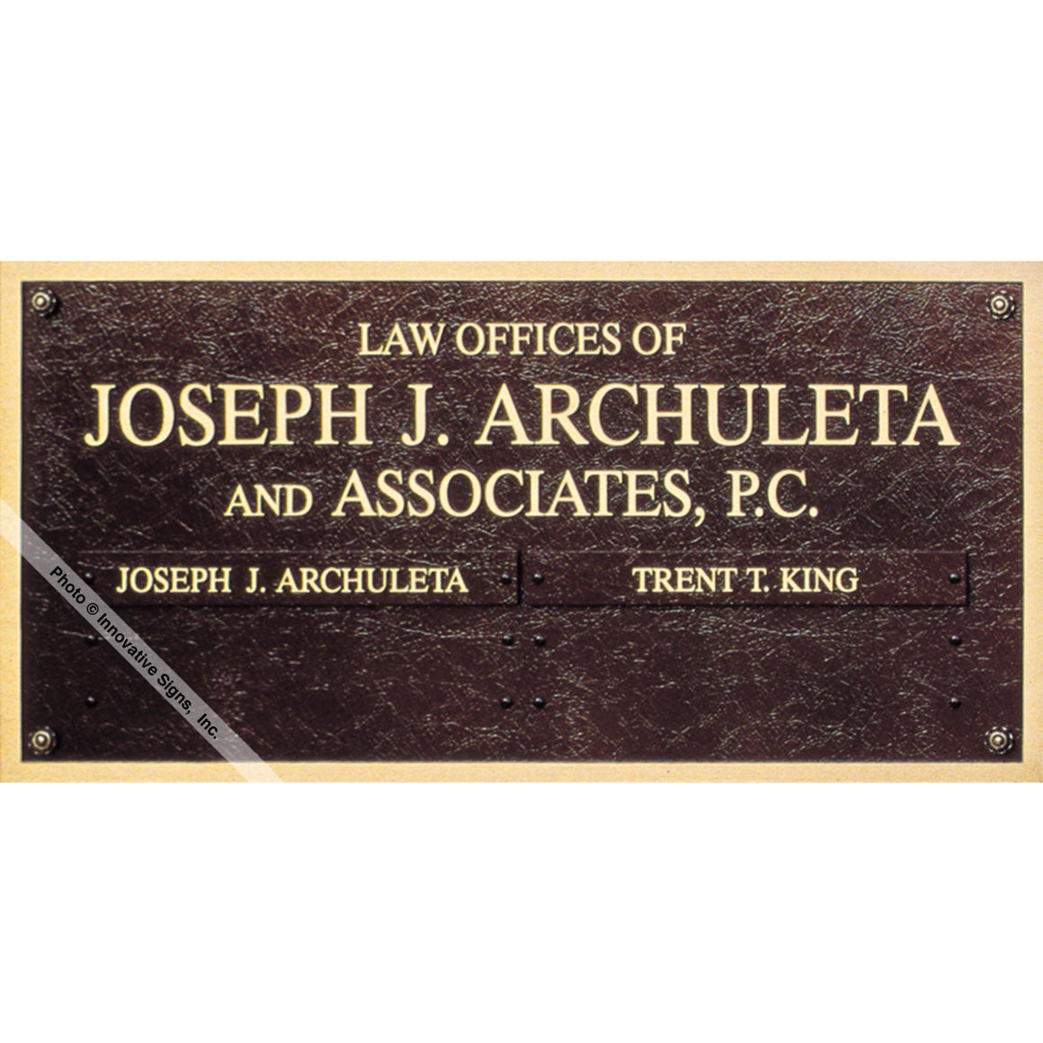 Front View: Archuleta Style 24875 Cast Bronze Law Office Sign ...