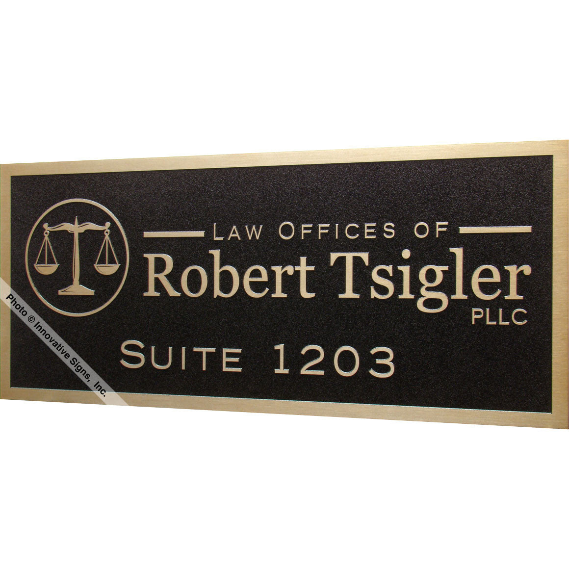 ... Right View: Tsigler Style 41252 Etched Bronzetone Zinc Law Office Sign  Plaque ...