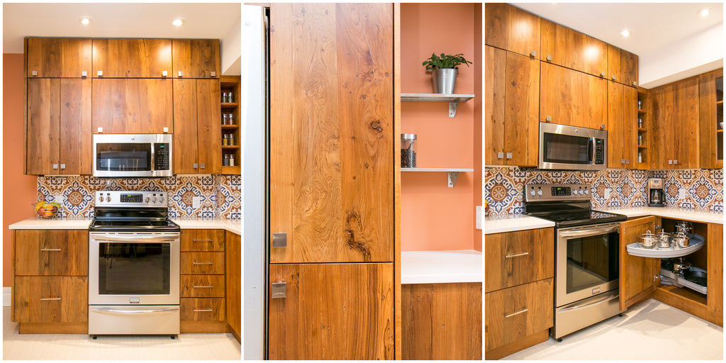 Custom Build Reclaimed Teak, Walnut, Oak, Poplar, Cherry or Barn Wood Kitchen Cabinets.  We believe in recycling the past & being environmentally friendly. Inde-Art  reclaimed wood kitchen  are build from salvaged or reclaimed teak wood.