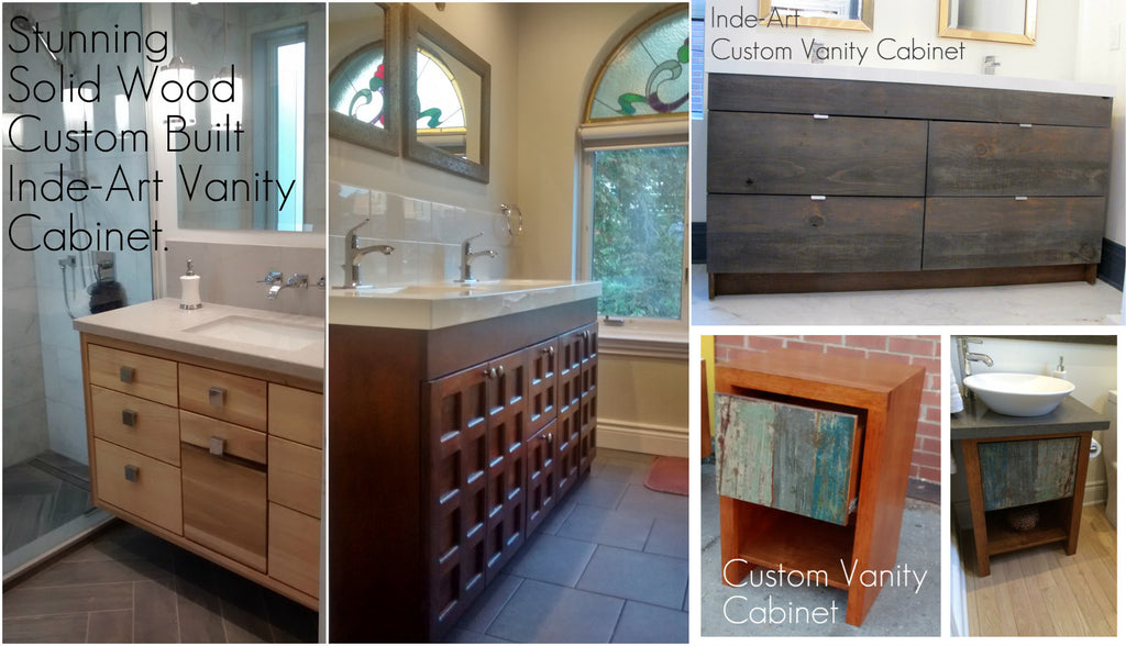 custom build solid wood (reclaimed teak, walnut, poplar, cherry, pine or barn wood) bathroom vanity cabinets.