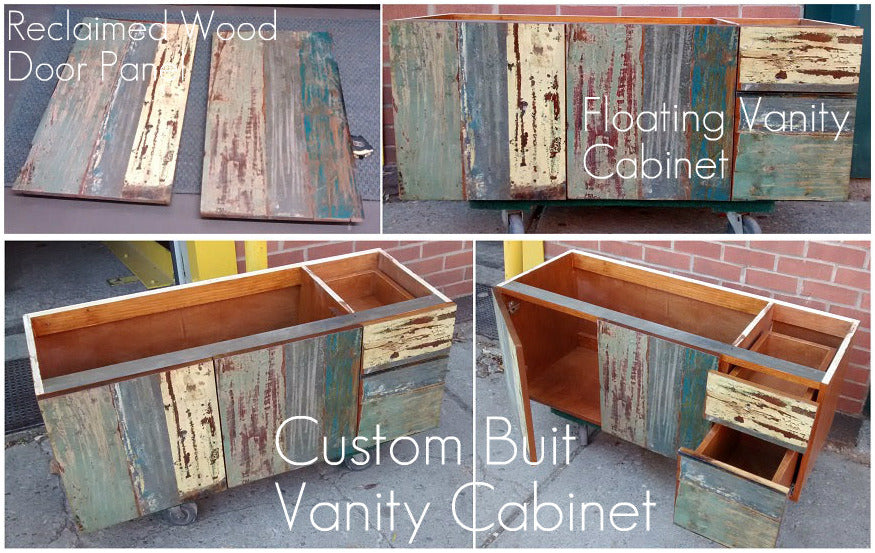 Inde-Art custom designed & build bathroom vanity cabinets and reclaimed wood cabinet door & drawer fronts, can be customized to fit existing  boxes & drawers (including IKEA boxes & drawers).