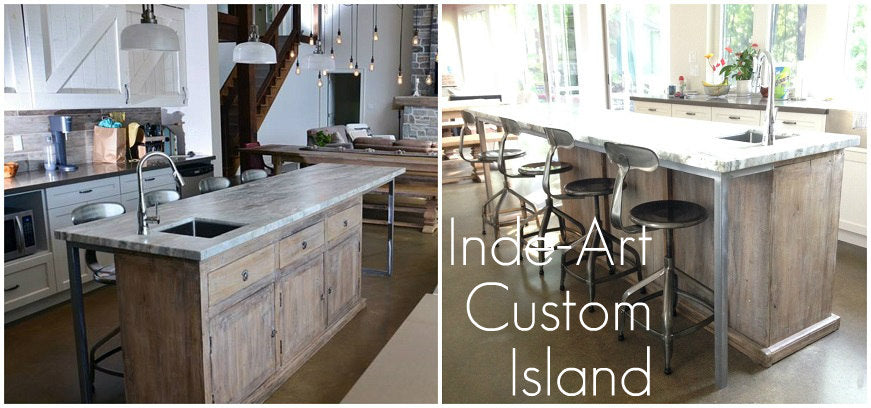 Inde-Art custom ​build​ kitchen cabinets, kitchen islands and reclaimed wood cabinet door & drawer fronts,​ which can be customi​zed to ​fit ex​isting boxes & drawers including Ikea.