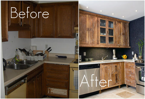 Inde-Art reclaimed wood kitchens - BEFORE & AFTER