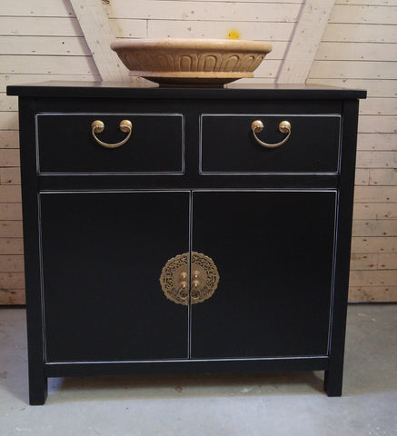 "Asian inspired design.  - Custom build  - With gorgeous brass flower pot cabinet face plate  - 34""x 18"" x 33""(ht)"