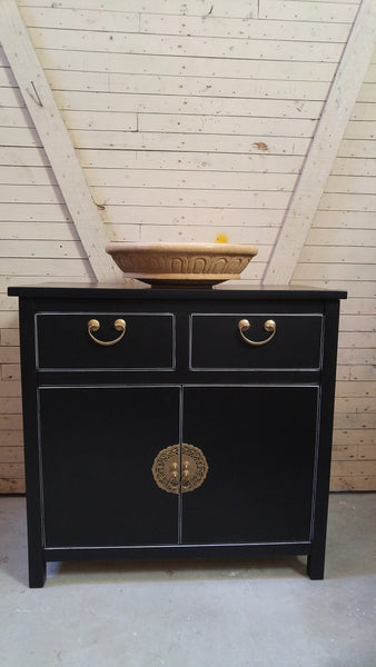 "Shown in the photos is a 34"" wide Asian inspired custom vanity.  Soft close drawer with gorgeous brass flower pot cabinet face plate  - 34"" W x 18"" D x 33"" HT"