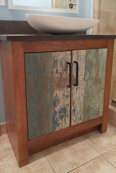 "One of a kind custom build 30"" vanity cabinet with reclaimed teak wood door fronts"