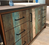 "One of a kind custom build 72"" vanity cabinet with reclaimed teak wood door & drawer fronts"