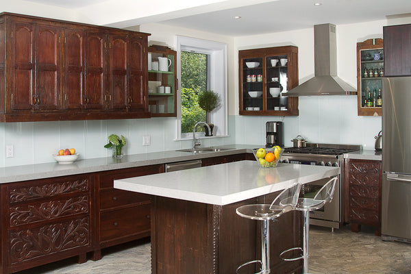 Inde-Art hand carved solid wood custom designed kitchen cabinets