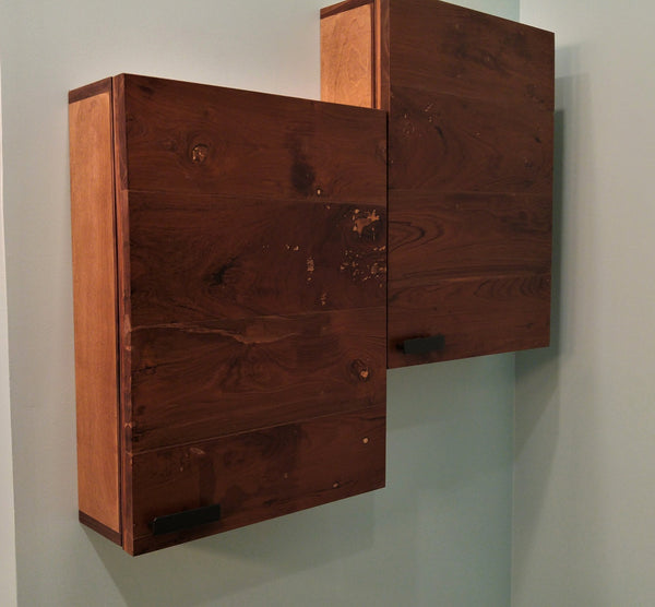 Custom build medicine cabinets with reclaimed teak wood door fronts