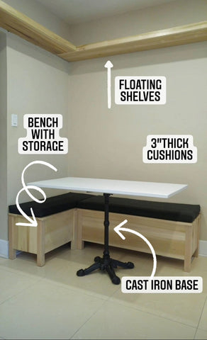 This L-shaped banquette, bench or seating with a lid converts this small corner into a very inviting dining nook, maximizing seating and adding storage space.  Paired with a custom built  dining table with a cast iron base -​ This nook ​​is ​equal part chic and functional!!  The floating shelves fit in perfectly with any home that prefer shelf spaces with clean and well defined lines.  The idea also saves up on space and gives you a stylish display area that you can use in various forms!​​