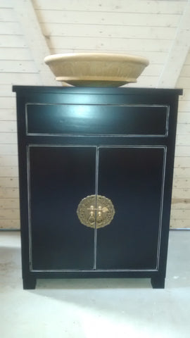 ​Asian inspired one of a kind​ ​custom build​ vanity cabinet with gorgeous brass flower pot cabinet face plate​.​