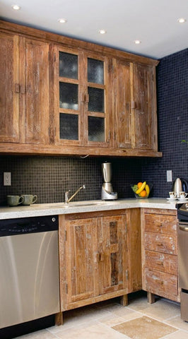 Inde-Art reclaimed wood custom built kitchen cabinets and cabinet door and drawer fronts