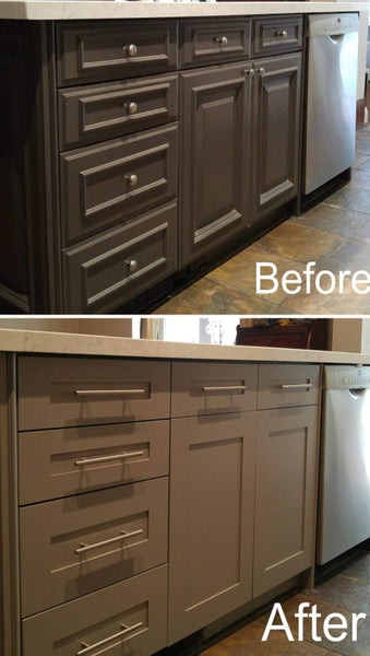 A stunning transformation by replacing the cabinet door & drawer fronts and spraying the end gables so they all match. The shaker style new fronts along with new hardware adds style and gives new feel & look to this kitchen with out breaking a bank.