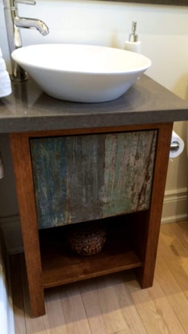 "Shown in the photos is a 20"" wide custom vanity. Soft close drawers & cabinet box made from furniture-grade, high quality plywood and drawer fronts built from one of a kind reclaimed/salvage teak wood panels. - 20"" W x 16"" D x 25"" HT"