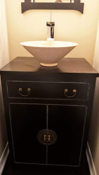 "Shown in the photos is a 24"" wide Asian inspired custom vanity.  Soft close drawer with gorgeous brass flower pot cabinet face plate  - 24"" W x 18"" D x 33"" HT"