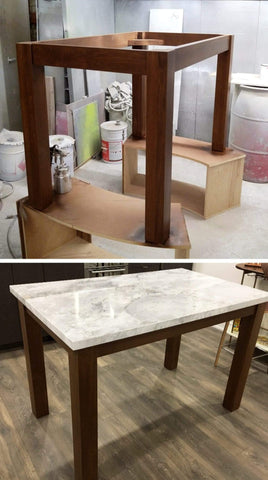 "-A custom build 36"" high kitchen table or an island -Frame build from solid poplar wood - With a stunning natural stone top. - Size - 5ft x 3ft x 3ft (ht)"