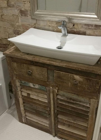 Reclaimed wood one of a kind vanity cabinet