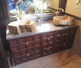 "60"" custom build vanity cabinet with one of a kind solid rose wood drawer fronts"